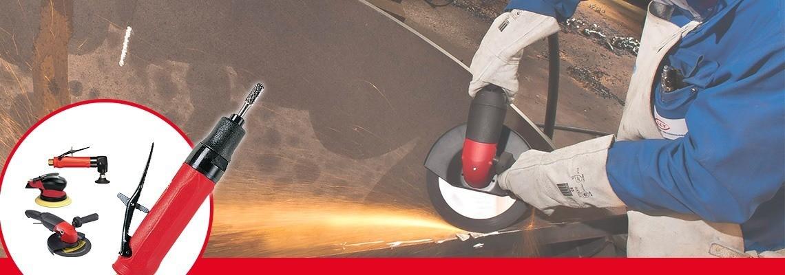 Konik diskler için bir pnömatik taşlama makinesi mi arıyorsunuz? Desoutter Industrial Tools yüksek performanslı pnömatik taşlama makineleri geliştirmiştir. Bir tanıtım isteyin!