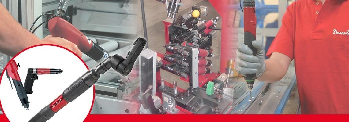 Pnömatik sıkma aletlerinde uzman olan, yüksek hassasiyet, konfor ve üretkenlik için tasarlanan Desoutter Industrial Tools otomatik ters tornavidaları keşfedin.